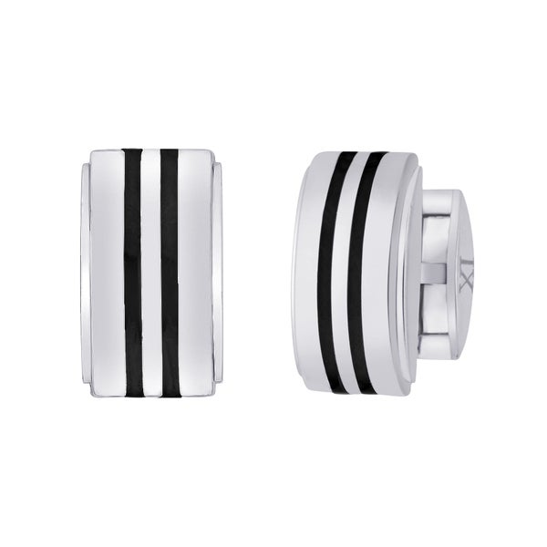 Titanium Men's Striped Carbon Inlay Cuff Links