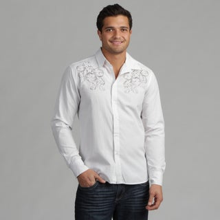191 Unlimited Mens White Subtly Detailed Woven Shirt