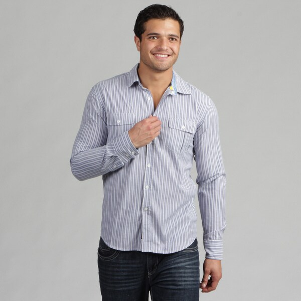 191 Unlimited Mens Blue Subtly Detailed Woven Shirt