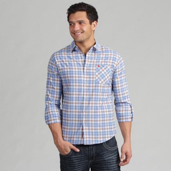 191 Unlimited Men's Contemporary Blue Plaid Woven Shirt