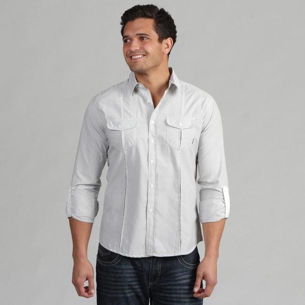 191 Unlimited Men's White Stripe Camper Sleeve Shirt