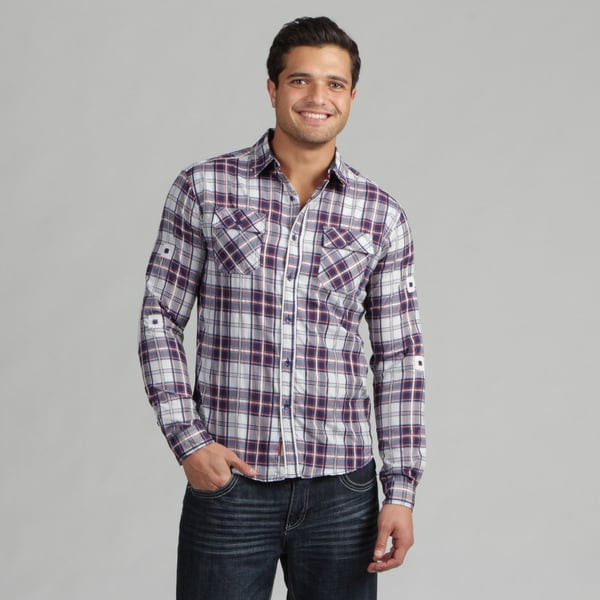 191 Unlimited Mens Blue Plaid Subtly Detailed Woven Shirt
