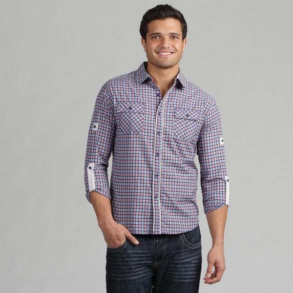 191 Unlimited Men's Blue Woven Plaid Camper Sleeve Shirt