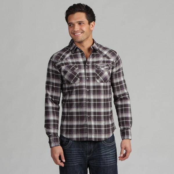 191 Unlimited Men's Black Plaid Shirt