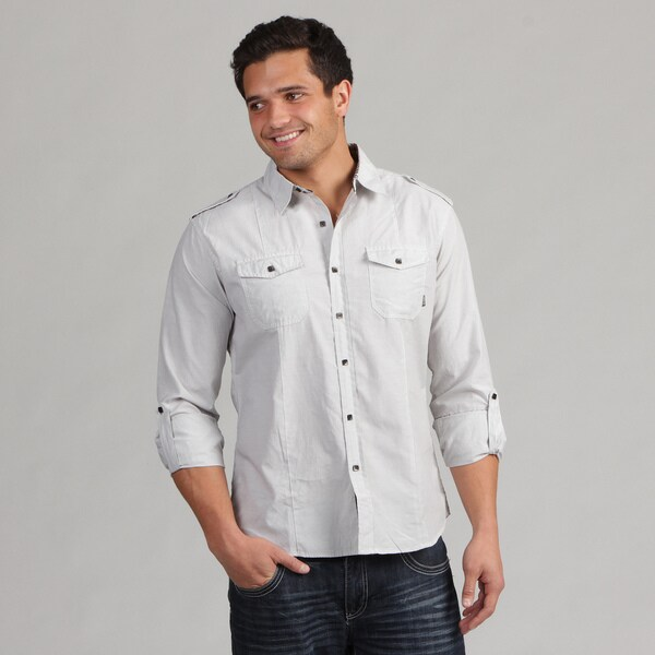 191 Unlimited Men's White Contrast Button Shirt