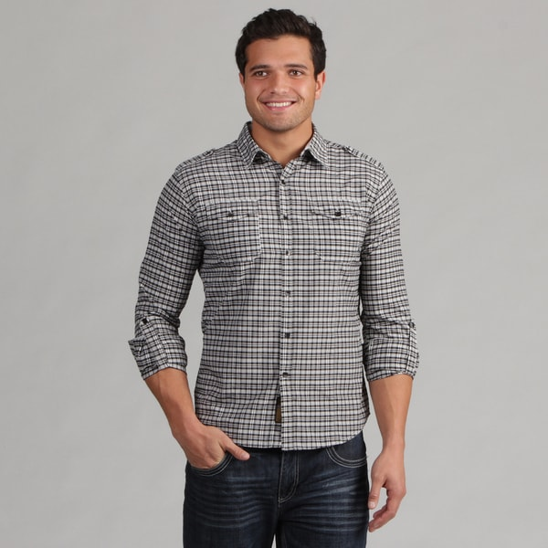 191 Unlimited Men's Camper Sleeve Black Plaid Shirt