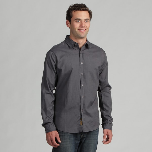 191 Unlimited Mens Solid Charcoal Woven Shirt