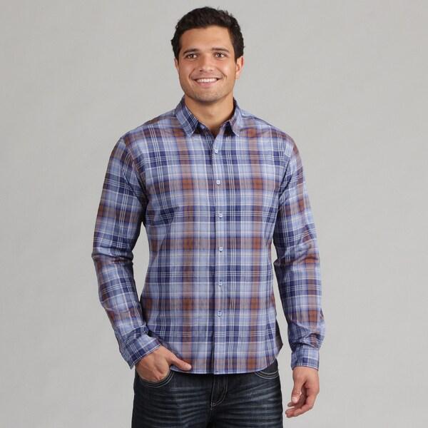 191 Unlimited Mens Blue/Brown Plaid Woven Shirt