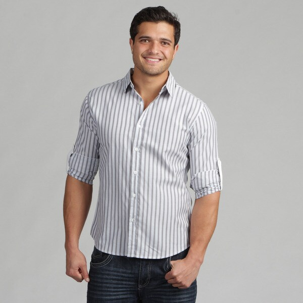 191 Unlimited Mens Blue Stripe Woven Cotton-Blend Shirt
