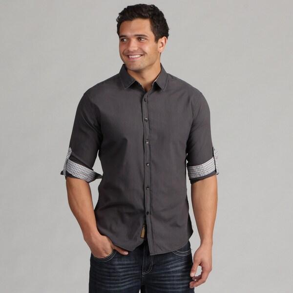 191 Unlimited Men's Black Contrast Camper Sleeve Shirt