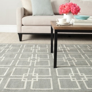 Martha Stewart by Safavieh Square Dance Cement Grey Wool/ Banana Silk Rug