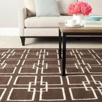 Martha Stewart by Safavieh Square Dance Tilled Soil Brown Wool/ Banana Silk Rug