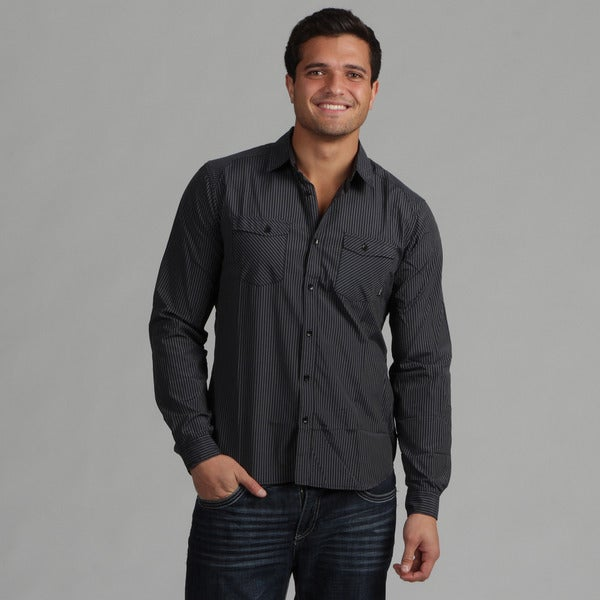 191 Unlimited Men's Black Detailed Woven Shirt