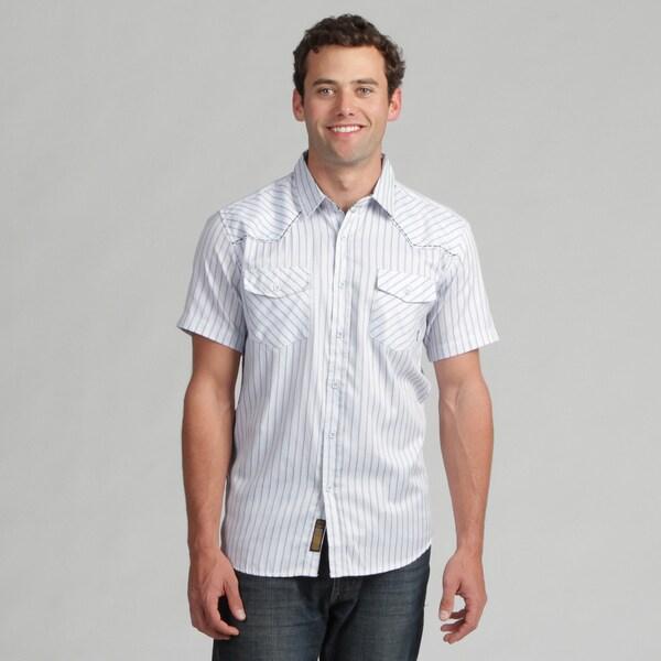 191 Unlimited Mens Blue Stripe Woven Shirt