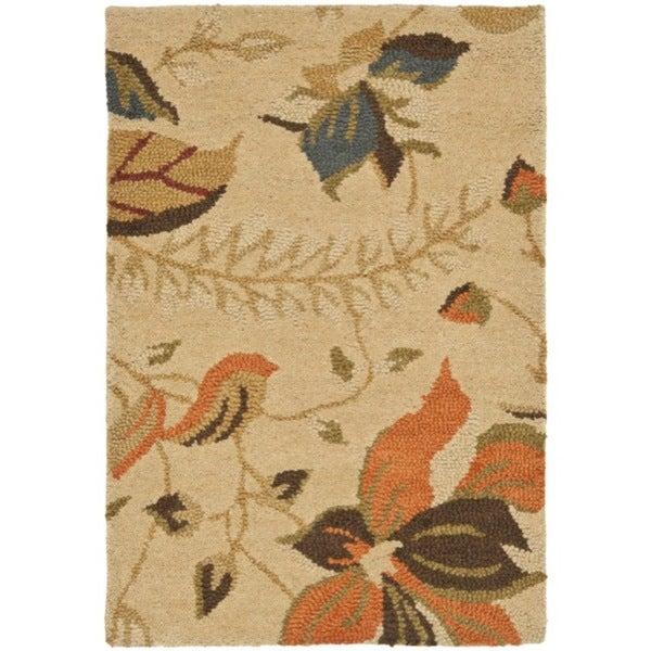 Safavieh Handmade Blossom Paradise Beige Wool Rug - 2'6 x 4'