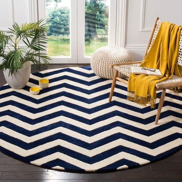Safavieh Moroccan Blue And Black Area Rug: Shop Safavieh Handmade Moroccan Chatham Chevron Dark Blue