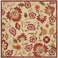 Safavieh Handmade Blossom Paisley Beige Wool Rug (8' Square) - 8' x 8' Square