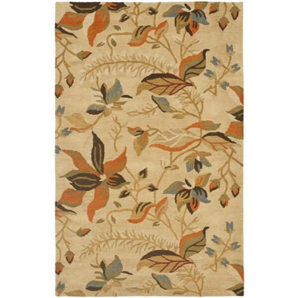 Safavieh Handmade Blossom Paradise Beige Wool Rug (8'9 x 12')