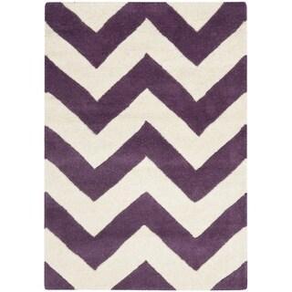 Safavieh Handmade Moroccan Chatham Chevron Purple/ Ivory Wool Rug (2' x 3')
