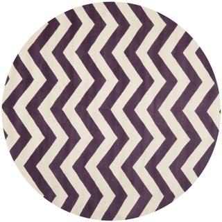Safavieh Handmade Moroccan Chatham Chevron Purple/ Ivory Wool Rug (6'7 Round)