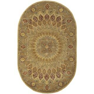 Safavieh Handmade Heritage Timeless Traditional Light Brown/ Grey Wool Rug (4'6 x 6'6 Oval)