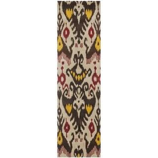 Safavieh Handmade Ikat Beige/ Brown Wool Rug (2'3 x 8')
