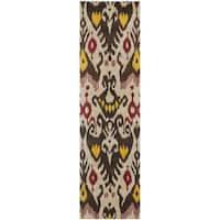 """Safavieh Handmade Ikat Beige/ Brown Wool Rug - 2'3"""" x 8'"""