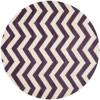 Safavieh Handmade Moroccan Chatham Chevron Purple/ Ivory Wool Rug (7' Round)