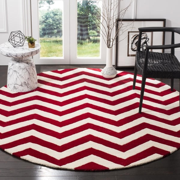 Chevron Kitchen Rug: Safavieh Handmade Moroccan Chatham Chevron Red/ Ivory Wool