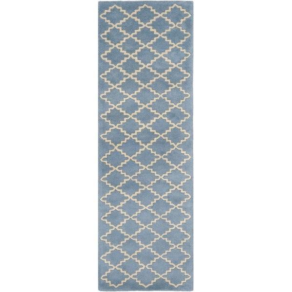 Safavieh Handmade Moroccan Chatham Blue Grey Wool Rug (2'3 x 7')