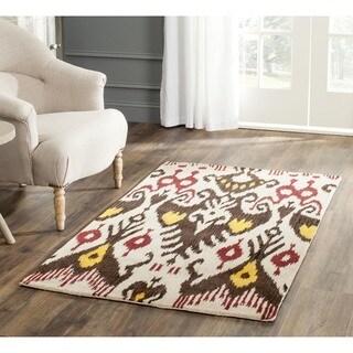Safavieh Handmade Ikat Beige/ Brown Wool Rug (2' x 3')