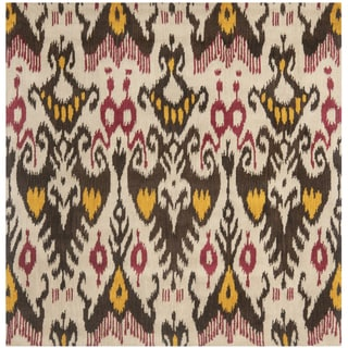 Safavieh Handmade Ikat Beige/ Brown Wool Rug (6' Square)