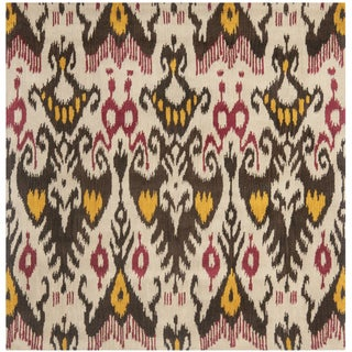 Safavieh Handmade Ikat Beige/ Brown Wool Rug (6' Square)