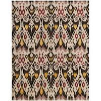 Safavieh Handmade Ikat Beige/ Brown Wool Rug - 9' x 12'