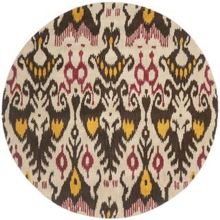 Safavieh Handmade Ikat Beige/ Brown Wool Rug (6' Round)