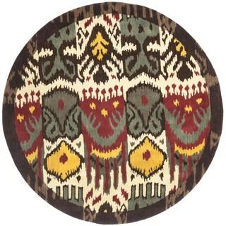 Safavieh Handmade Ikat Cream/ Brown Wool Rug (6' Round)