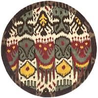 Safavieh Handmade Ikat Cream/ Brown Wool Rug (6' Round) - 6' Round