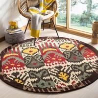 Safavieh Handmade Ikat Cream/ Brown Wool Rug - 6' x 6' Round