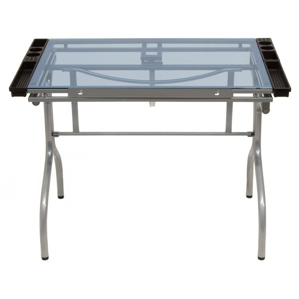 Offex Silver/ Blue Glass Folding Craft Station