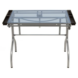 Offex Artists Tempered Glass Top and Silver Folding Craft Station