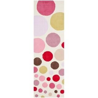 "Safavieh Handmade Children's Bubbles Ivory/ Pink N. Z. Wool Rug - 2'3"" x 7'"