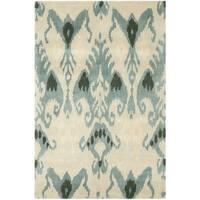 Safavieh Handmade Ikat Silver/ Blue Wool Rug - 3' x 5'