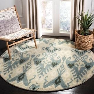 Safavieh Handmade Ikat Silver/ Blue Wool Rug (6' Round)