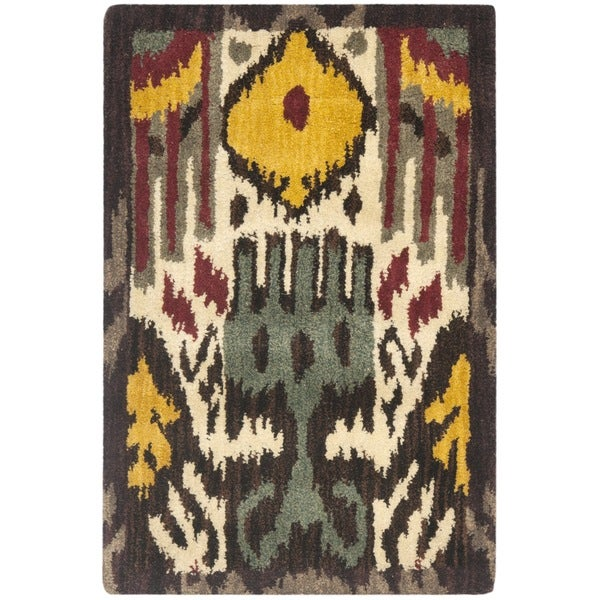 Safavieh Handmade Ikat Cream/ Brown Wool Rug - 2' x 3'