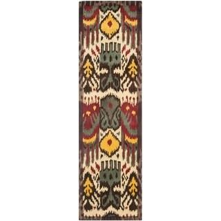 Safavieh Handmade Ikat Cream/ Brown Wool Rug (2'3 x 8')