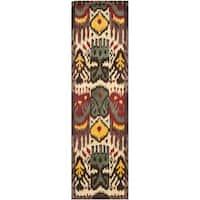 "Safavieh Handmade Ikat Cream/ Brown Wool Rug - 2'3"" x 8'"