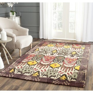 Safavieh Handmade Ikat Cream/ Brown Wool Rug (6' Square)