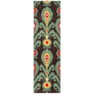 Safavieh Handmade Ikat Charcoal Grey/ Blue Wool Rug (2'3 x 8')