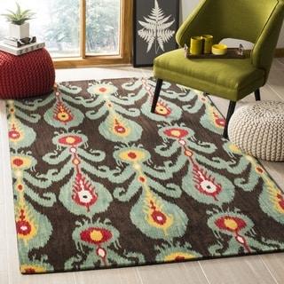 Safavieh Handmade Ikat Charcoal Grey/ Blue Wool Rug (3' x 5')