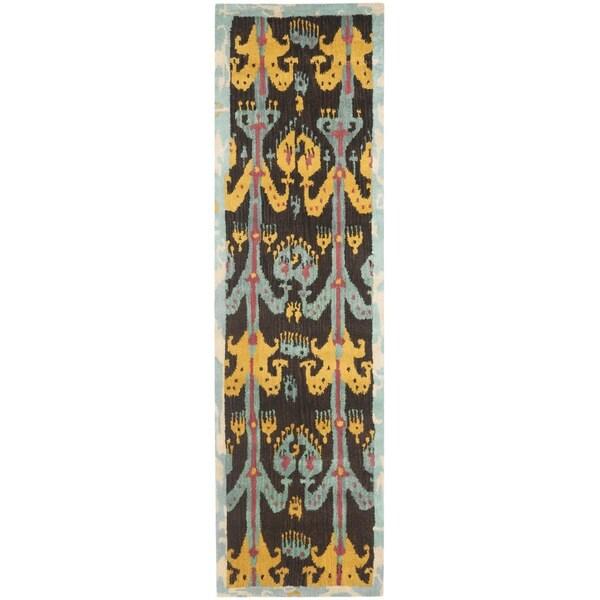 "Safavieh Handmade Ikat Charcoal Grey/ Blue Wool Rug - 2'3"" x 8'"
